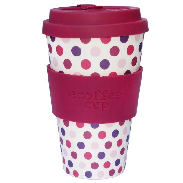 "Ecoffee cup ""PINK POLKA"" 400ml"